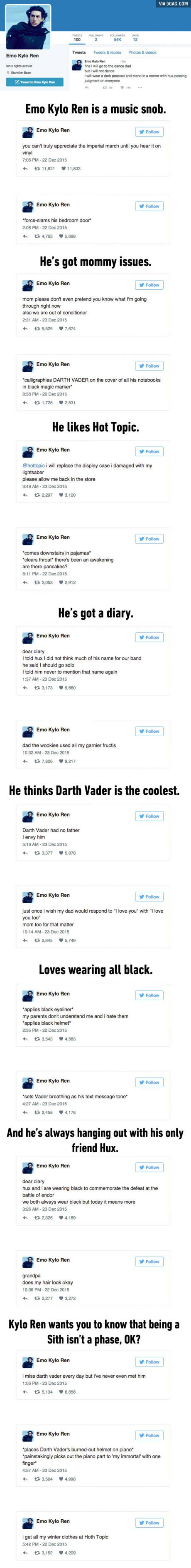 """""""Emo Kylo Ren"""" Will Probably Be Your New Favorite Twitter Parody Account"""