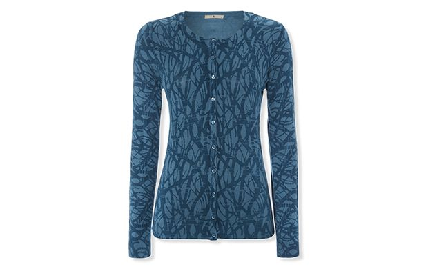 "Branch Print Cardigan. ""Inspired by nature, this teal cardigan features a branch print."""
