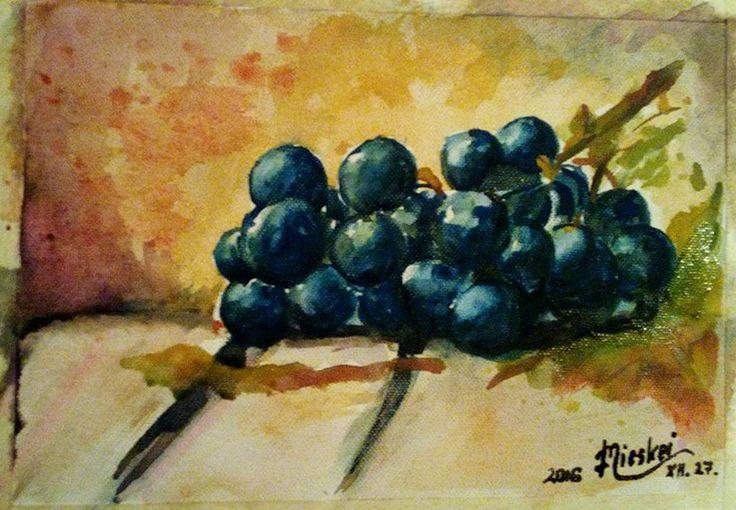szőlőfürt vászon- akvarell-20x28 cm
