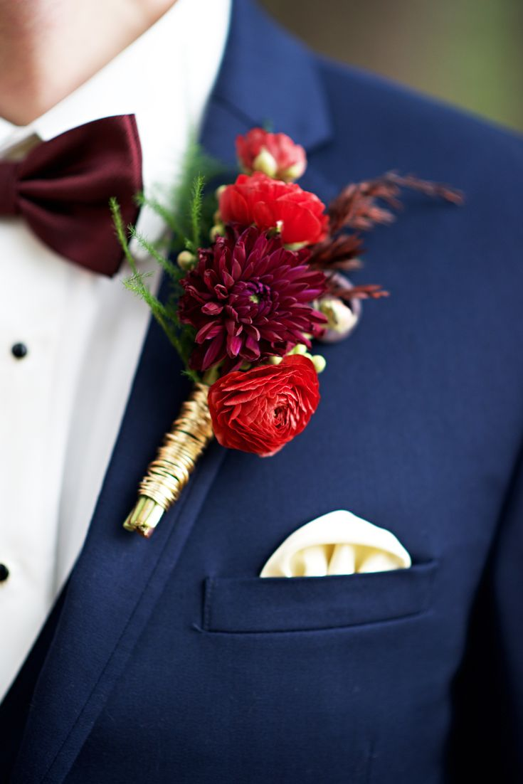 Groom boutonniere ideas, red floral bout, vibrant flowers // Modern Image Photography