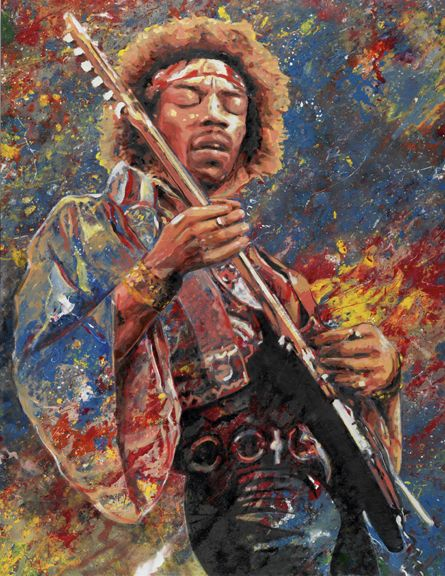 Jimi Hendrix of the Experience painting by Tom Noll. Giclee prints produced from this original oil art are for sale in the Art that Rocks print series
