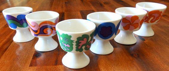 RARE Complete Set of 6 Arabia Finland Egg CupsKaarina by EyeScandi