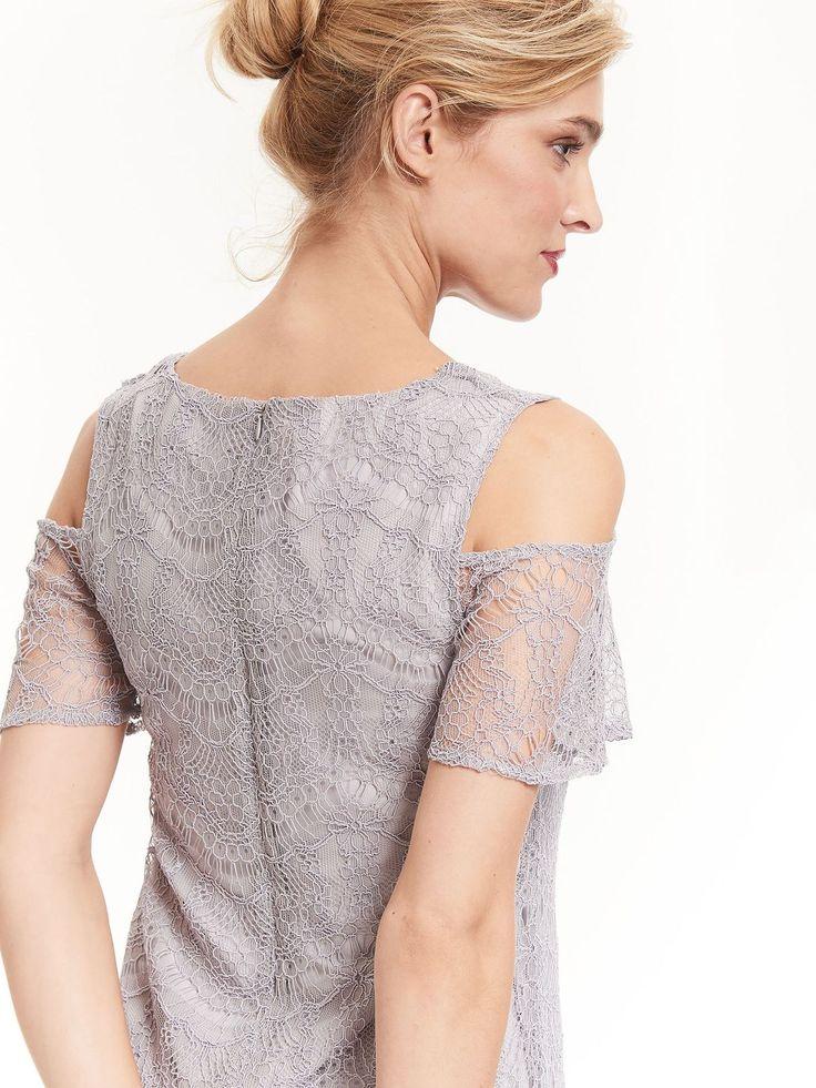 Top Secret sukienka obcisła koronkowa szara krótka mini grey lace dress wedding