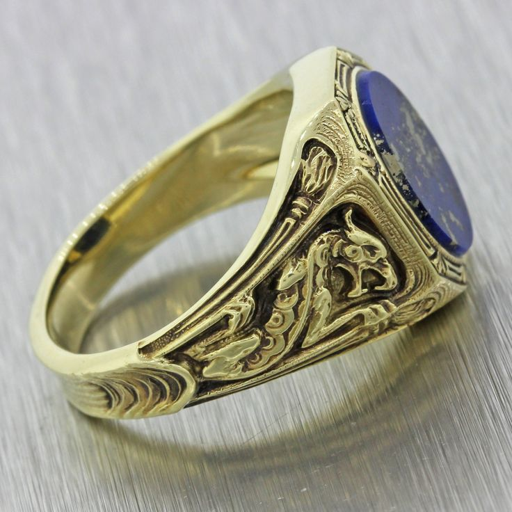 1960s mens vintage 14k solid yellow gold lapis lazuli