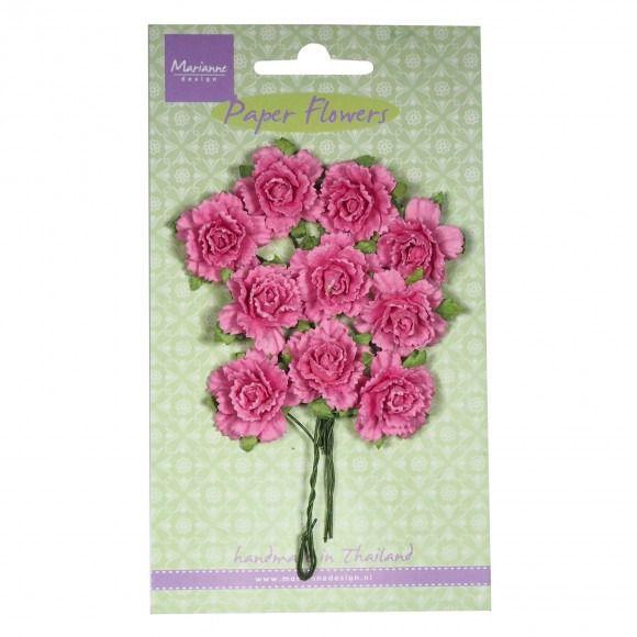 FLEURS en papier - Fleurs sur tige - Bouquet Fleurs - Oeillets ROSE clair - Carnation Bright Pink - MARIANNE DESIGN : Embellissements par boutique-creative-by-c-dona