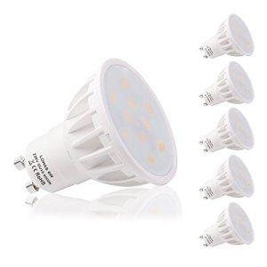 LOHAS 6W GU10 Lot de 5 Ampoule LED, 50W Ampoule Halogène équivalent, 500lm, Blanc Froid, 6000K, 120 à Larges Faisceaux, Ampoule LED GU10,…