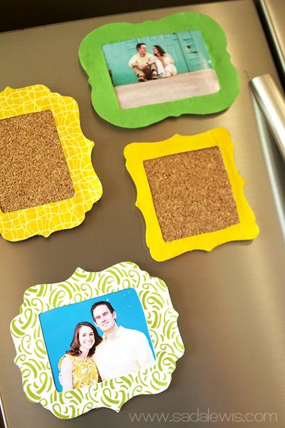Cute little picture frames & pin boards for the refrigerator