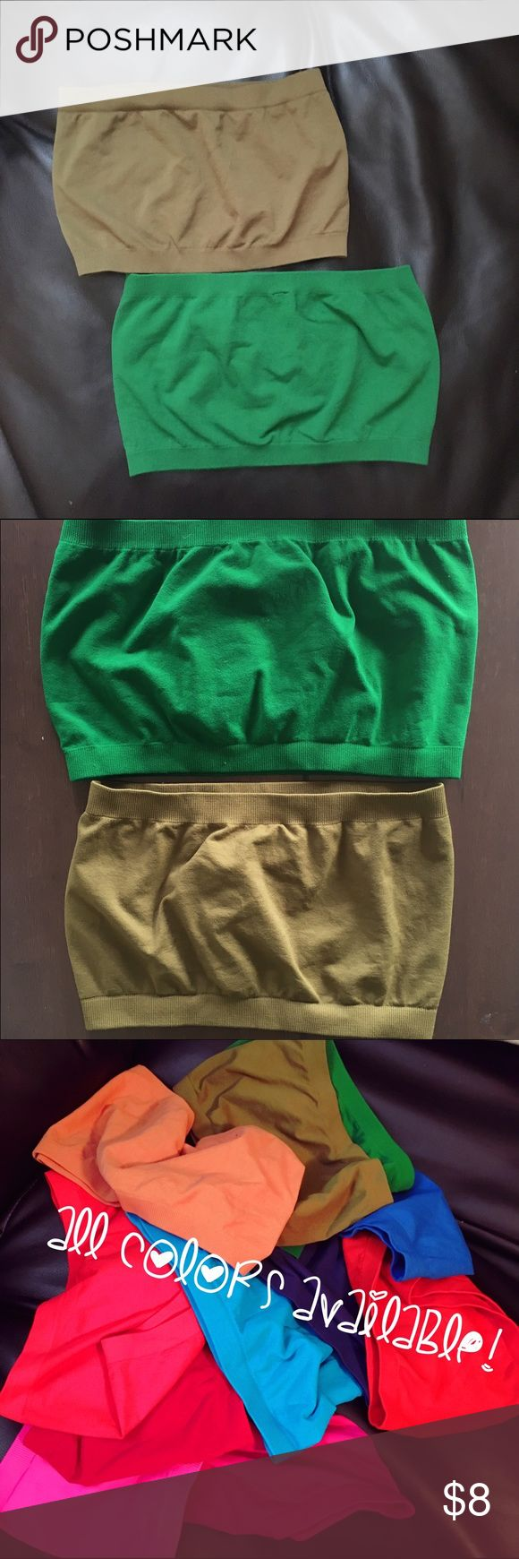 Like New Seamless Bandeau Tops! Army Green and Kelly Green bandeau tops! (You get both!) Also called boob-tubes 😂 perfect for under low cut shirt or with shirts with large arms!  Like new, never worn! Super stretchy: 92% Nylon, 8% Spandex!  No padding, just coverage. ❤ I have other colors, so bundle and save!!❤  sorry no trades! Intimates & Sleepwear Bandeaus