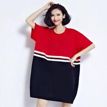 Новая Мода Летние Платья 2017 Женщины С Коротким Рукавом Лоскутная Свободные Хлопковые Футболки Платья Плюс Размер Женская Одежда 4XL 5XL(China (Mainland))