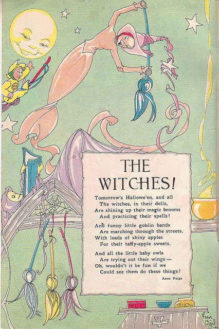 Whimsically delightful pastel hued page from a 1950s children's magazine. #vintage #1950s #magazine #Halloween #retro #fifties #witch #pastel