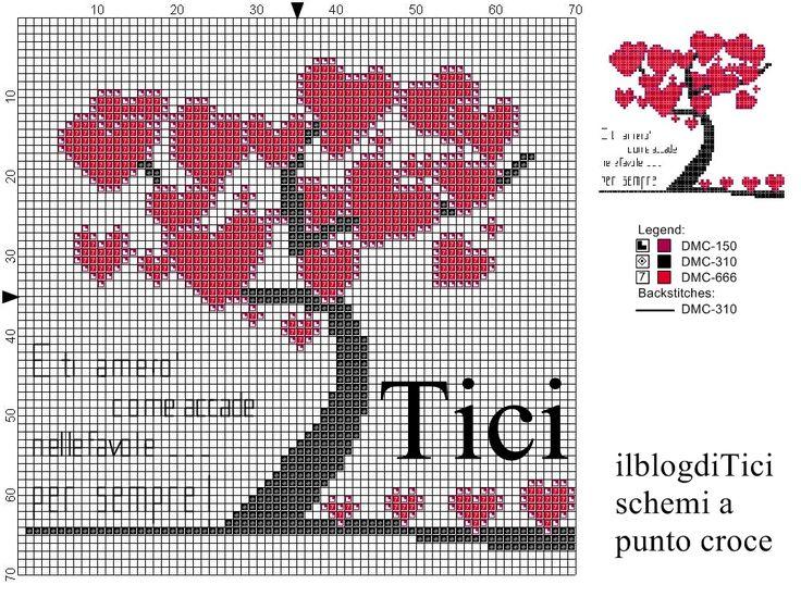 Schema a punto croce Albero con cuori