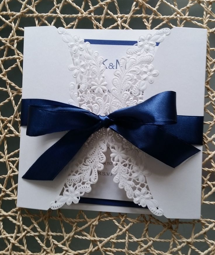 wedding invitation tied with ribbon%0A stunning Laser cut Embossed Summer flower Invitation Card with hand ties  satin bow by LKsInvitations on