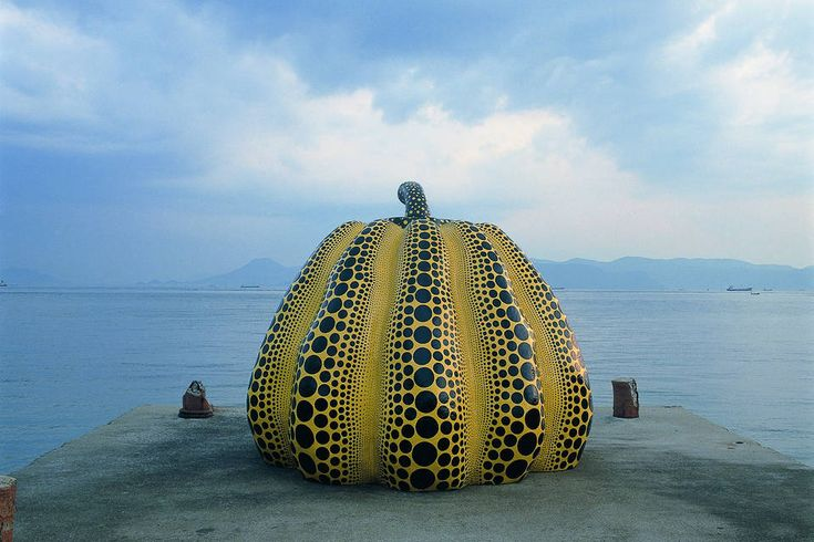 Japan's Naoshima Island of Art Inspires Patience Tasting Cognac / Yayoi Kusama's 'Yellow Pumpkin' sculpture, which sits on its own pier overlooking the Seto Inland...