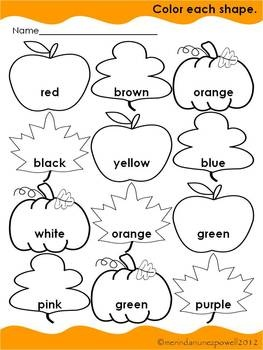 FREE Fall Color Word Sheet