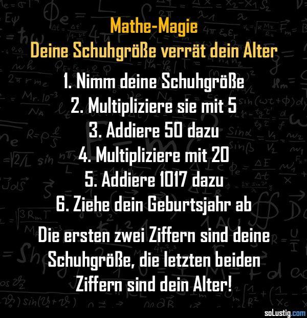 Mathe-Magie - Deine Schuhgröße verrät dein Alter! - #alter #magie #mathematik #rechnen #schuhgröße