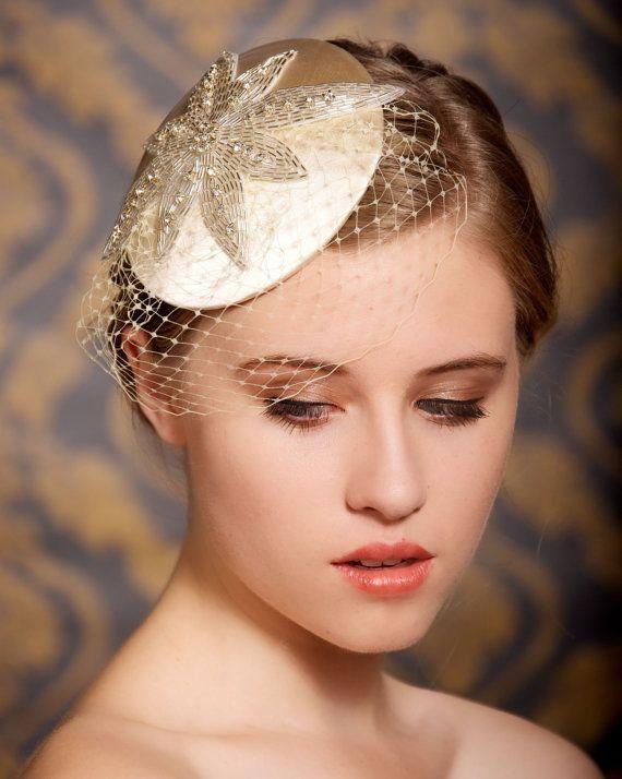 Art Deco, Hair Clip, Bridal Hair accessories, Wedding Fascinator, birdcage veil, wedding headpiece, Old Hollywood, Cocktail Hat - REGINA