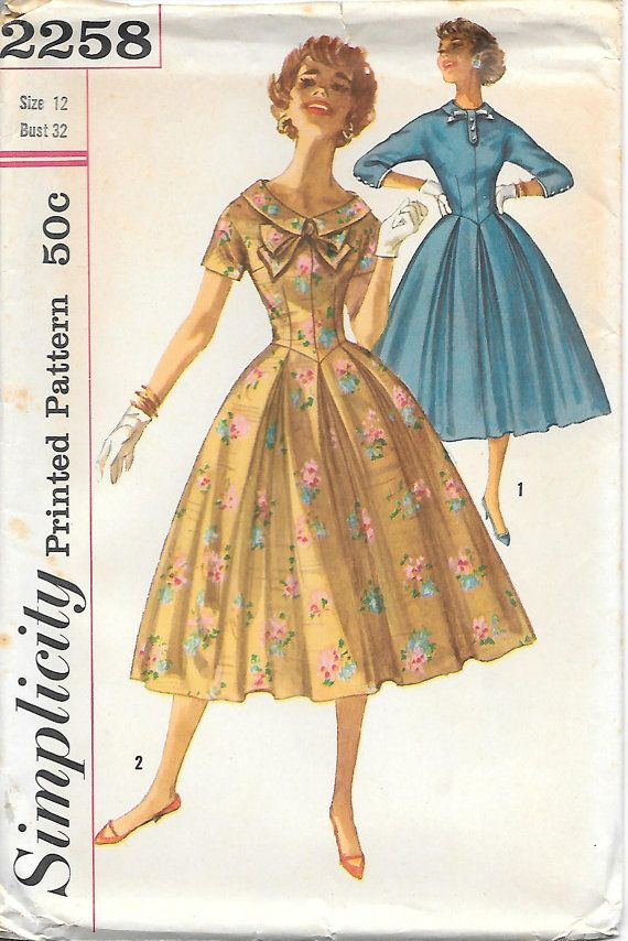 1950s Basque Bodice Dress Simplicity 2258 Sewing Pattern, offered on Etsy by GrandmaMadeWithLove