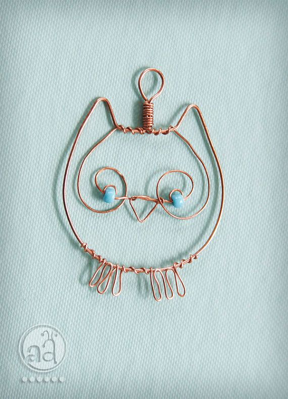 Owl Pendant - necklace hand made with copper wire and teal beads - artsy owl ornament
