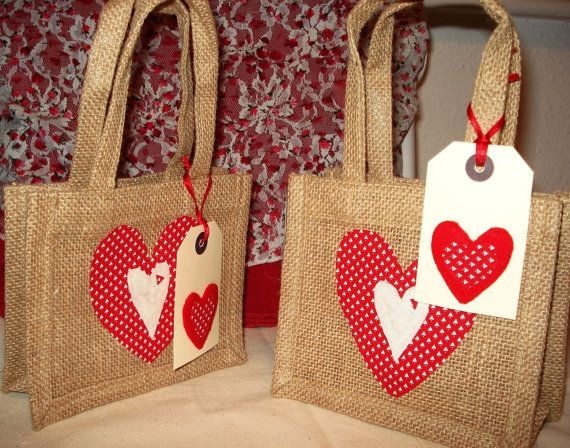 Mini hessian gift bag gift bag with red by BerryNiceCushions, £3.50