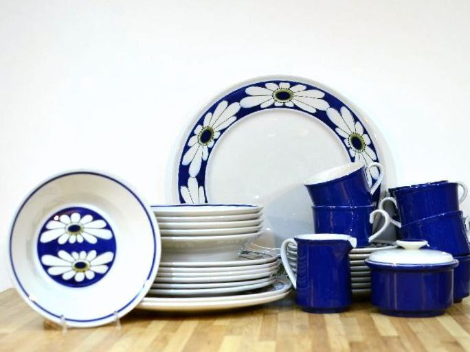 Midcentury Mikasa Dinnerware Set: Epiqure-One Tivoli Pattern D4501 Blue Daisy Set Six and More Sugar, Creamer, Plates, Bowls, Cups, Saucers by VintageRescuer on Etsy https://www.etsy.com/listing/268054557/midcentury-mikasa-dinnerware-set-epiqure