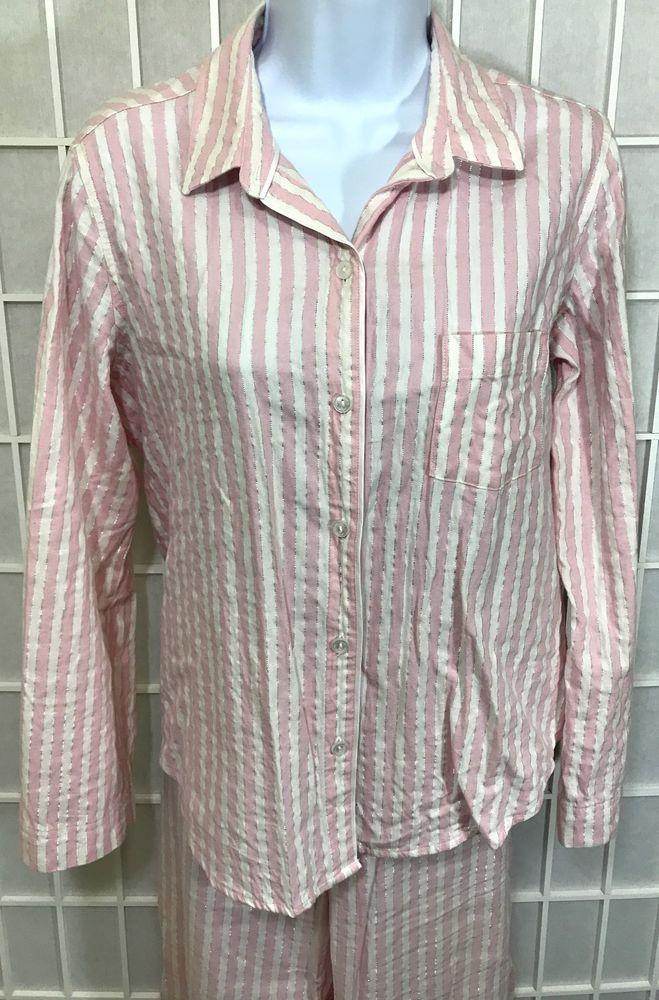 2c449ae8eb Victoria s Secret Pajama Set Size M Pink White Striped Silver Threading   victoriassecret  pajamas