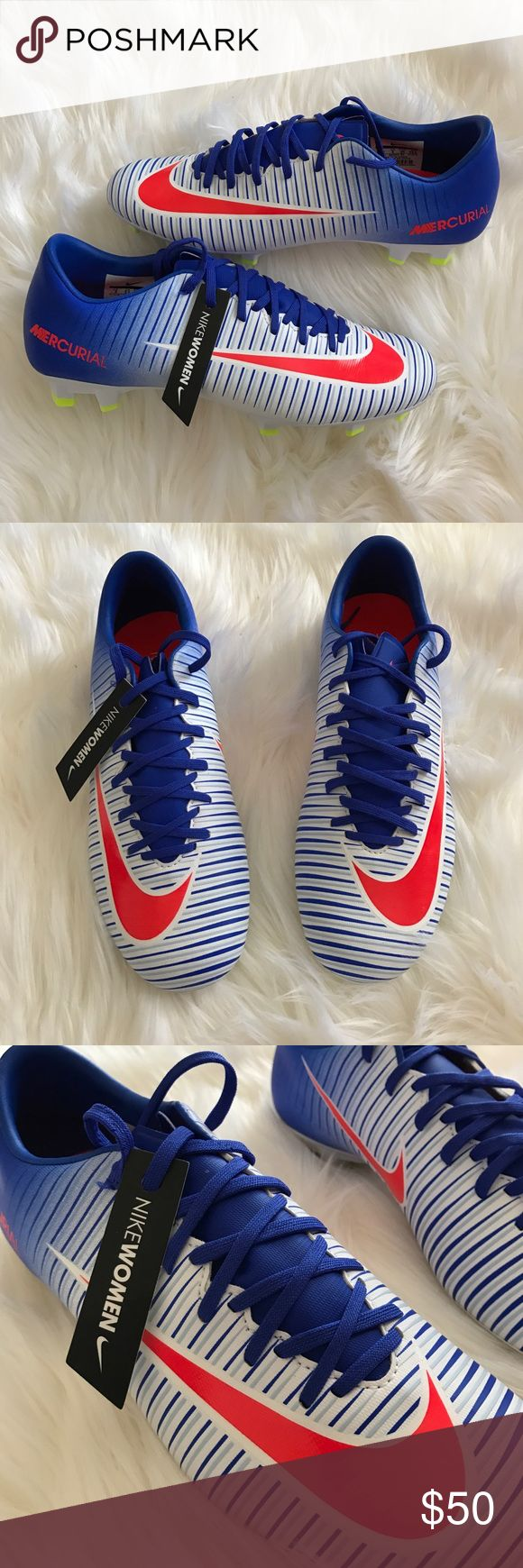 Nike Mercurial Vortex III cleats New Nike Mercurial soccer cleats in red/white/blue. New with Nike Women tag, no box. Nike Shoes Athletic Shoes