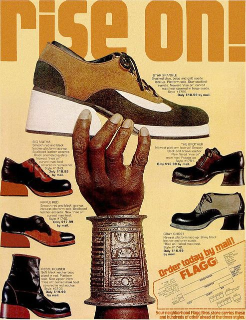 "living70s:  Flagg Shoes, 1972  ""Rise On""  EBONY magazine April 1972"