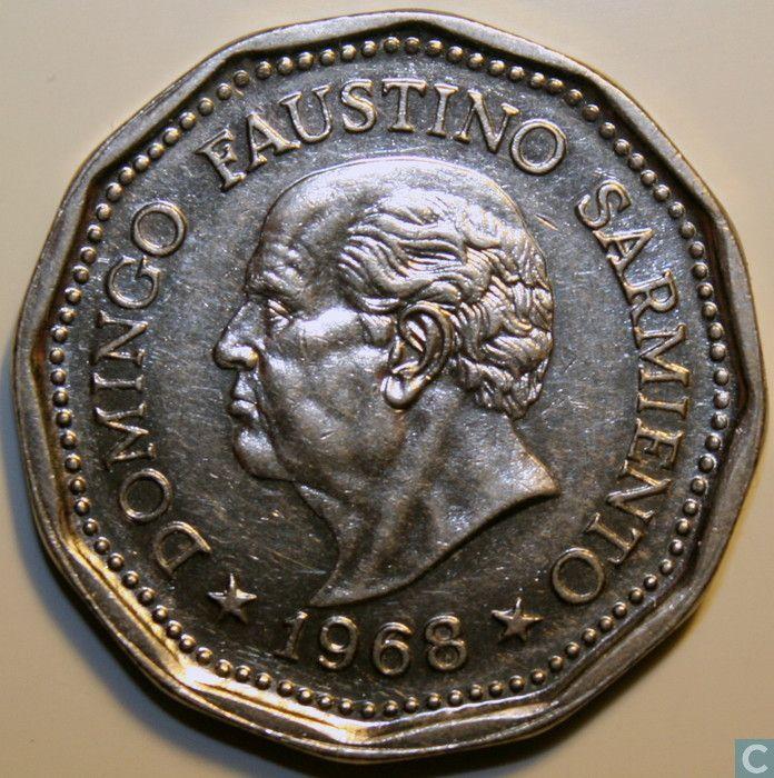 "Coins - Argentina - Argentina 25 pesos 1968 ""80th Anniversary - Death of D.Faustino Sarmiento"""