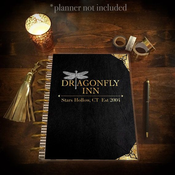 Dragonfly Inn BLACK leather Gilmore Girls Planner by PlanTheDay