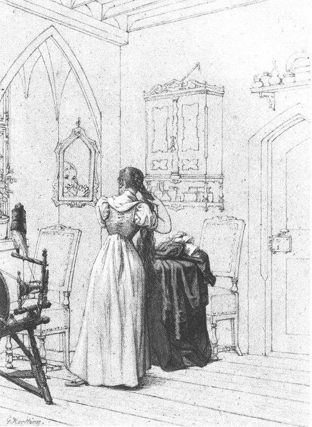 Georg Friedrich Kersting, Gretchen vor dem Spiegel - Wikimedia Commons