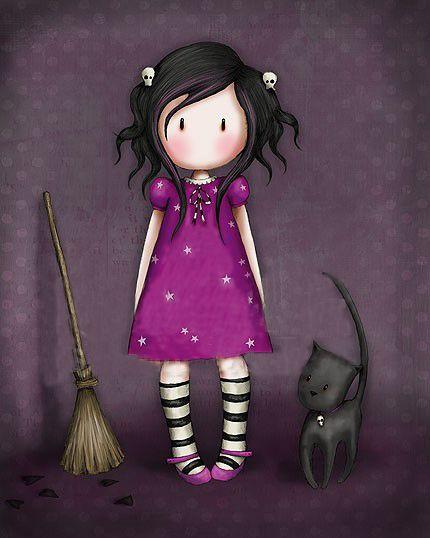 A Little Spell - Suzanne Woolcott (gorjuss)... | Kai Fine Art - purple, broomstick and black cat