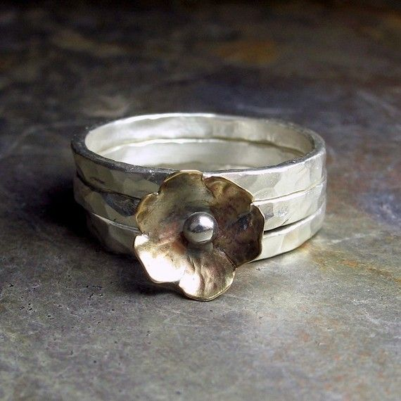 Stacking rings with brass flower  Petite Bloom by LavenderCottage, $45.00