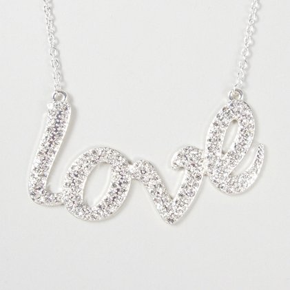 Spread the love in sparkly style: Crystal Love Nameplate Pendant Necklace
