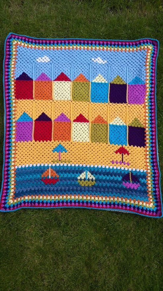 Crochet your very own 'Day at the Beach' with this unique pattern, which includes a full written pattern in UK terms. The crocheted blanket was designed by Liz Barnard being inspired by a holiday to Cornwall.