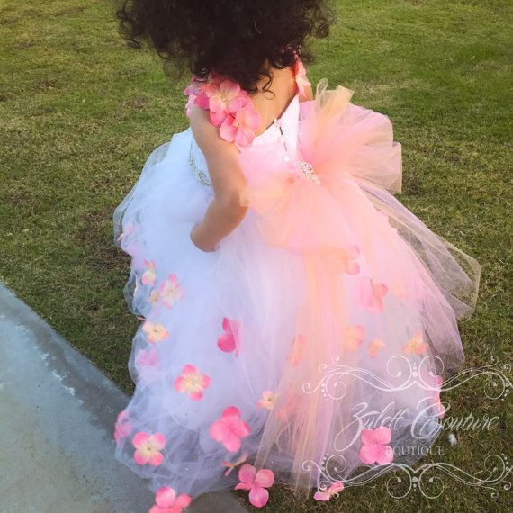 Baptism Dress - Mini Bride Dress - Flower Girl Dress - Lace Dress -  Big Bow - Tulle Dress - Wedding Dress - Emily Bloom Dress by Zulett