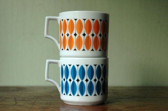 Mid Century Modern Tea Cups  Scandinavian Mugs in by JunkHouse, $24.00