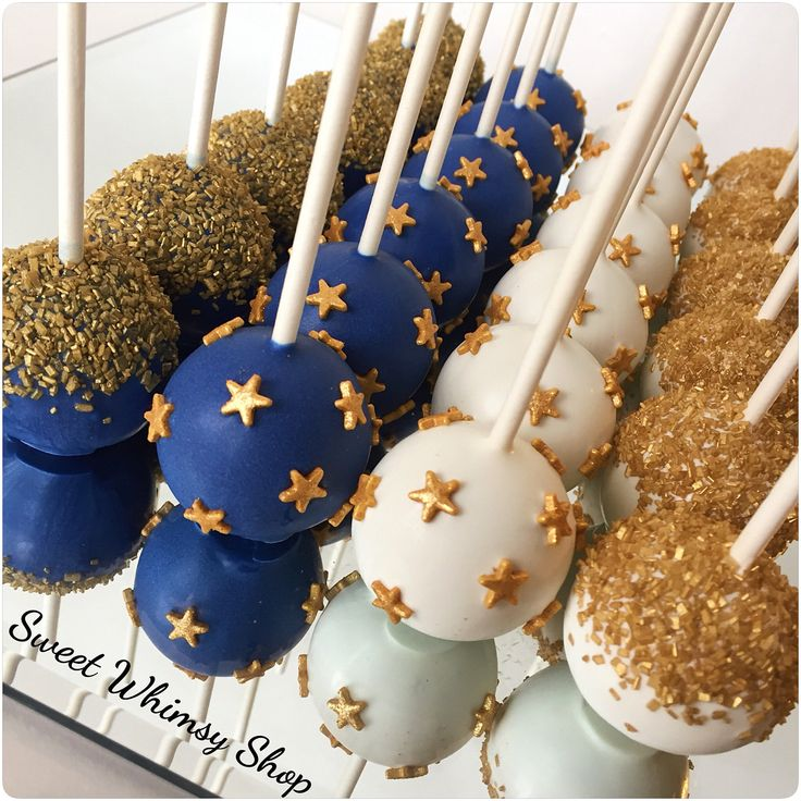 """126 Likes, 1 Comments - Sweet Whimsy Shop (@sweetwhimsyshop) on Instagram: """"Blue, White, and Gold Stars ✨ . . . #cakepops #twinkletwinklelittlestar…"""""""