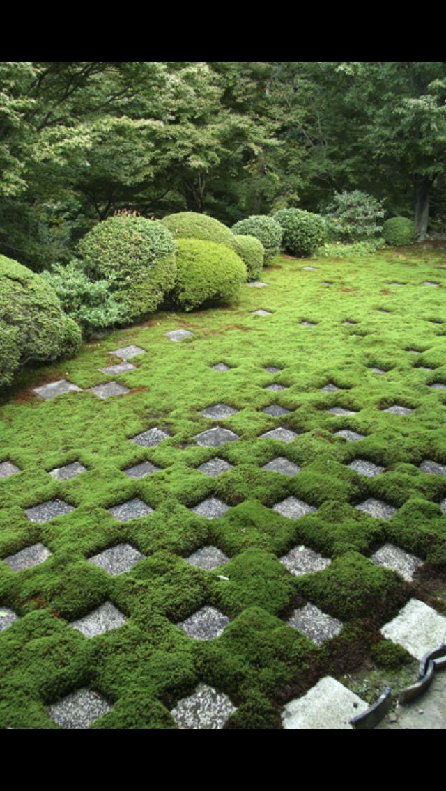 ⍋Green Gardens⍋ Zen, Formal, Topiary U0026 Landscape Parks U0026 Gardens   Moss And  Paver Checkerboard