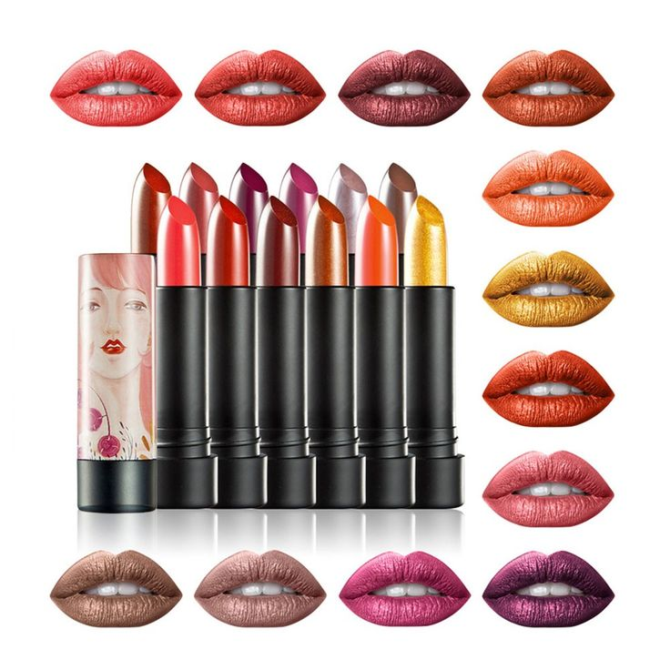 HUAMIANLI 12pcs Lipsticks Set Metallic Metal Glitter Shimmer Cream Waterproof Matte Long Lasting Sales Online - Tomtop