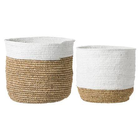 Bloomingville Set of 2 Raffia Baskets, White & Nature