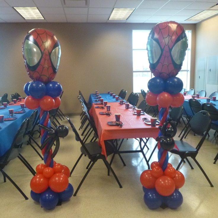 10 best images about spiderman balloons decor on pinterest for Spiderman decorations