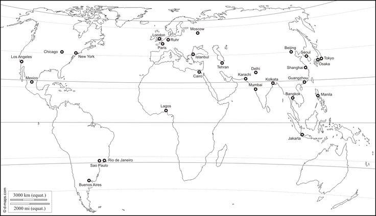 Planisphère centré Europe Afrique : carte géographique gratuite, carte géographique muette gratuite, carte vierge gratuite, fond de carte gratuit : littoraux, principales agglomérations, latitude, noms (blanc)