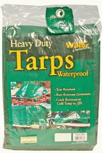 Heavy Duty Waterproof Tarp - Green, 20-by-30 Foot (20x30) by Waterproof Tarp Cover. $49.95. Tear resistant. Waterproof, rustproof grommets. Light weight. Will not mildew. Crack resistant to -20 F. Stronger than canvas. Will not tear or shrink. Washable. Grommets are placed every 3'. Reinforced corners inside hem for extra strength. Great for use as construction site cover, rain canopy, boat covers, tents, patio furniture cover and much more. Natural color (green) b...