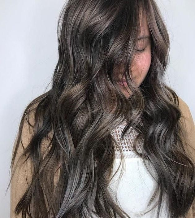 Ash Brown Hair Color With Icy Cool Silver Highlights On Long Wavy Hairstyle Ash Brown Hair Color Brown Hair Levels Brown Hair Light Ends