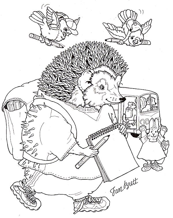 Welcome Back to School Coloring Page by Jan Brett
