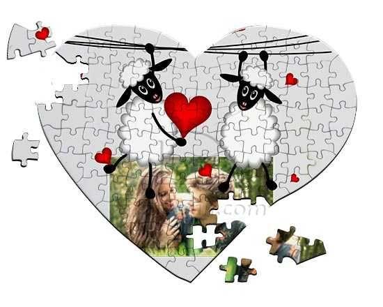 Foto su Puzzle a Cuore A4 con pecorelle