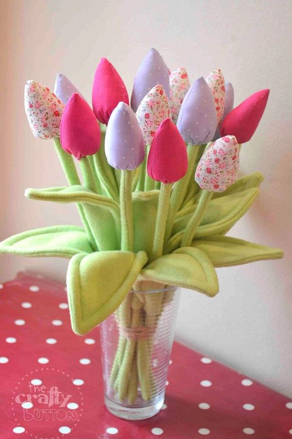 12 x Fabric tulips stunning flowers mothers day birthday gift for her pink purple floral arrangement shabby chic cottage