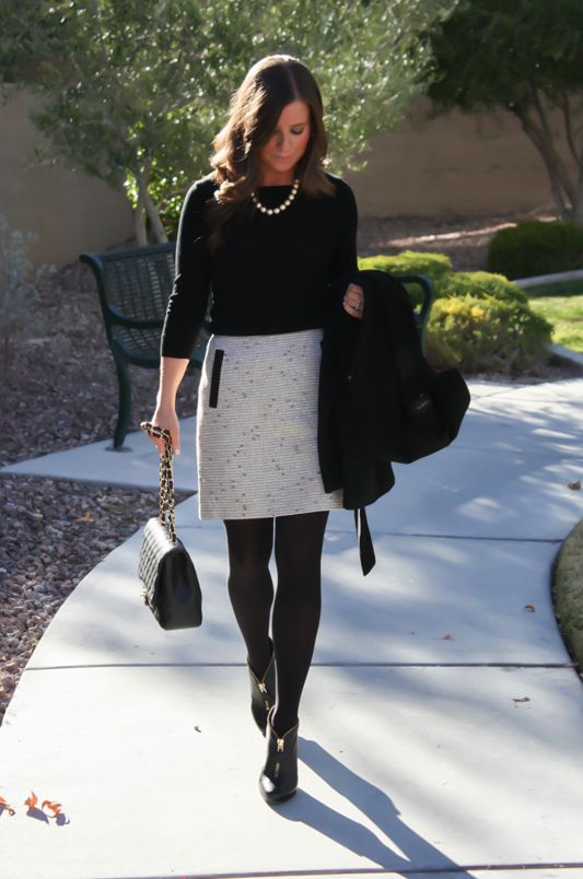 Offset a textured feature skirt with a chic wintery all-black ensemble. Keep any accessory accents in tonal shades to add a subtle glint of prestige.
