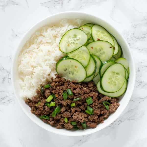 Korean Style Beef Rice Bowl With Cucumbers Korean Style Beef Beef And Rice Beef