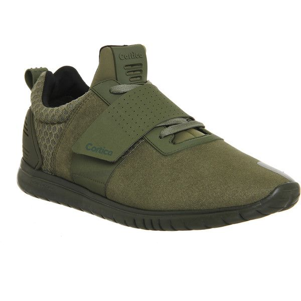 Cortica Epic 2.0 Runner (m) (£80) ❤ liked on Polyvore featuring men's fashion, men's shoes, men's sneakers, his trainers, khaki, shoes, trainers, mens velcro shoes, mens mesh shoes and mens velcro strap sneakers